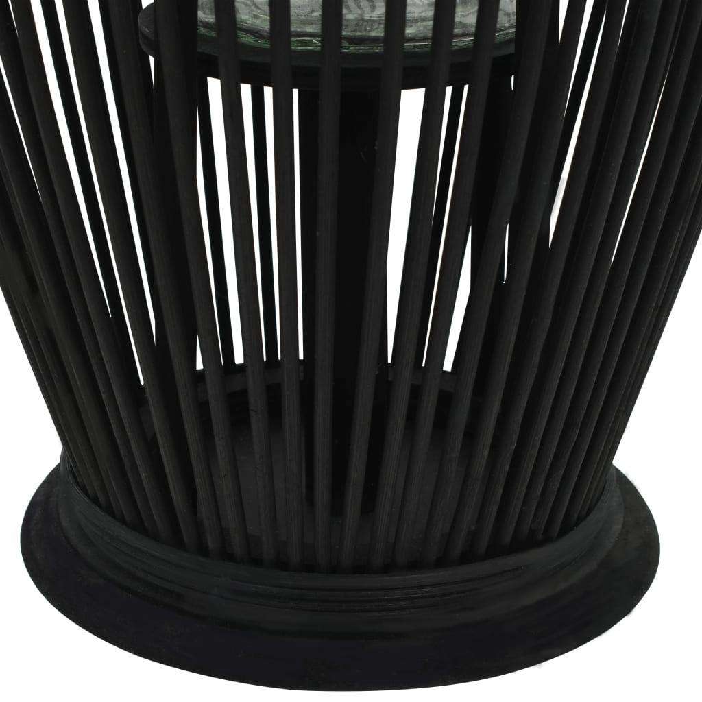 Hängande ljuslykta bambu 60 cm svart