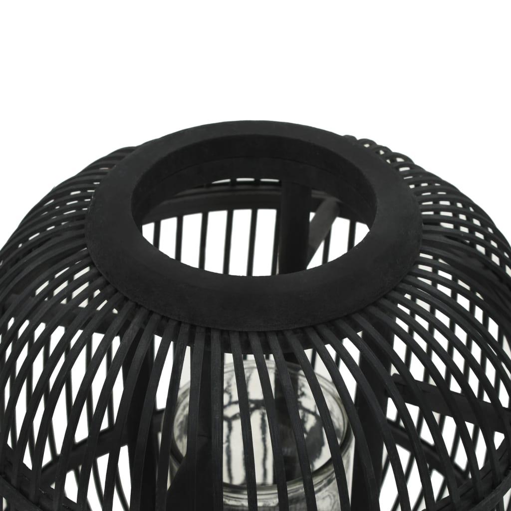 Fristående ljuslykta bambu svart