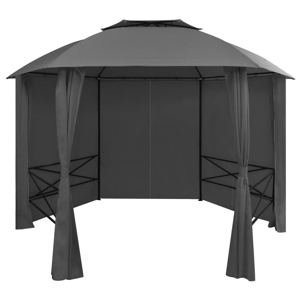 Paviljong med draperier hexagonal 360x265 cm