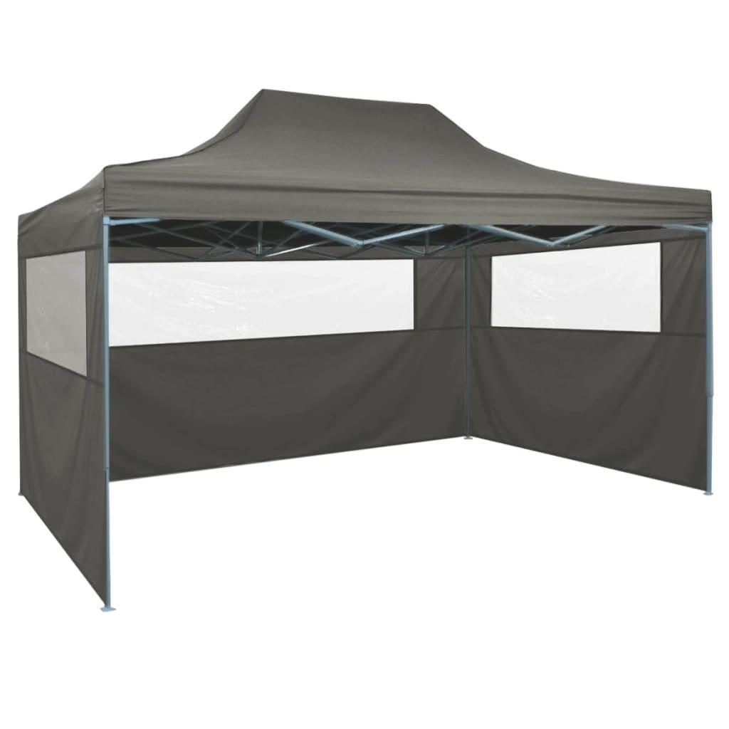 Hopfällbart tält med 3 väggar 3x4,5 m antracit
