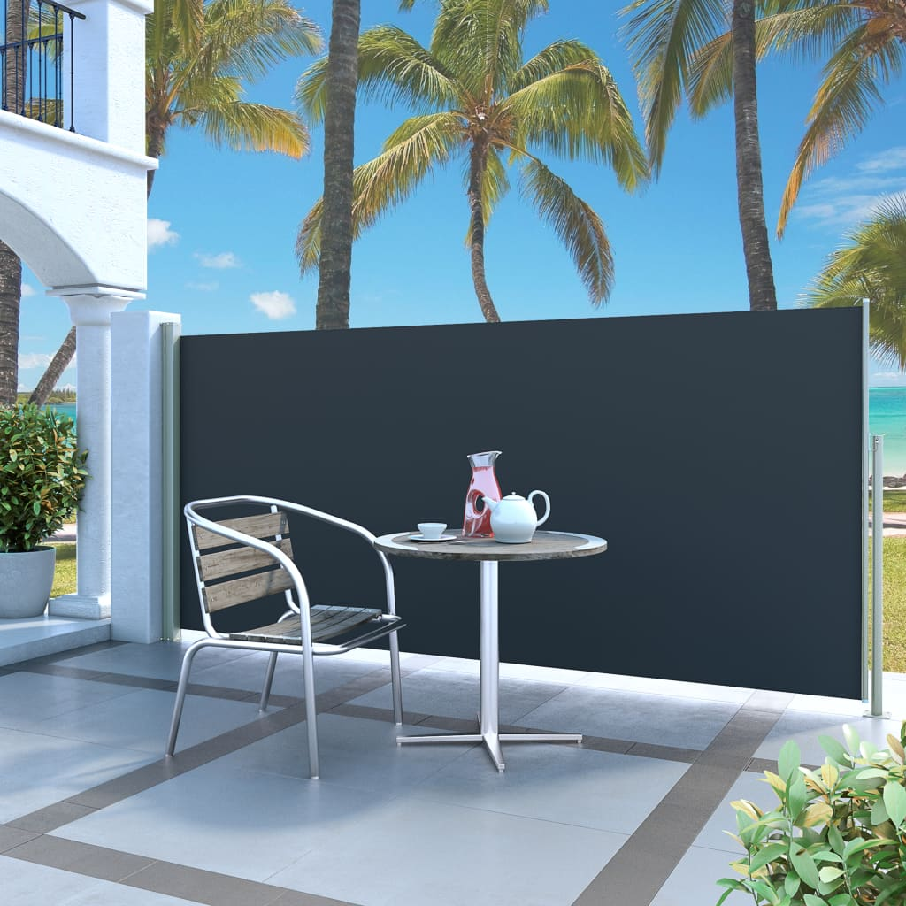 Infällbar sidomarkis 140 x 300 cm svart