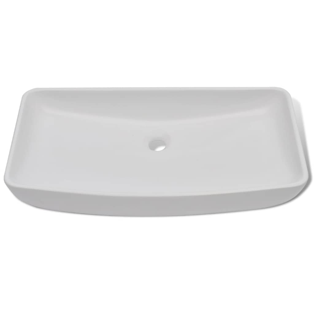 Handfat med blandare keramik rektangulär vit