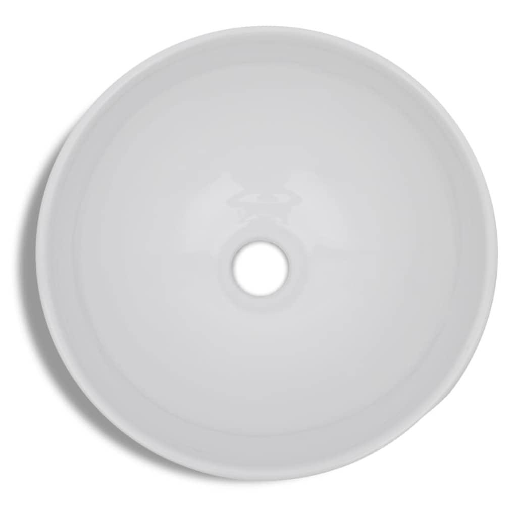 Handfat med blandare keramik rund vit