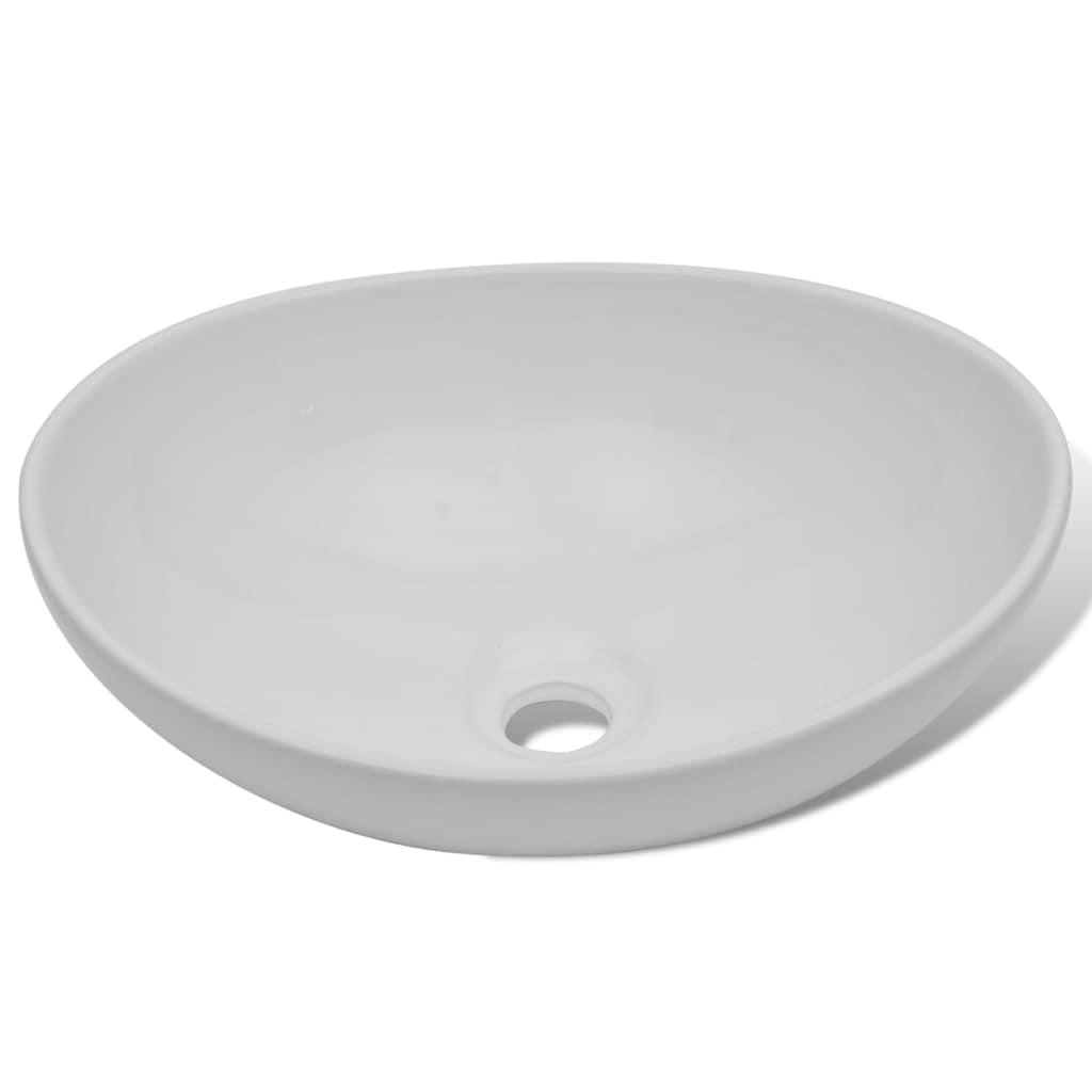 Handfat med blandare keramik oval vit