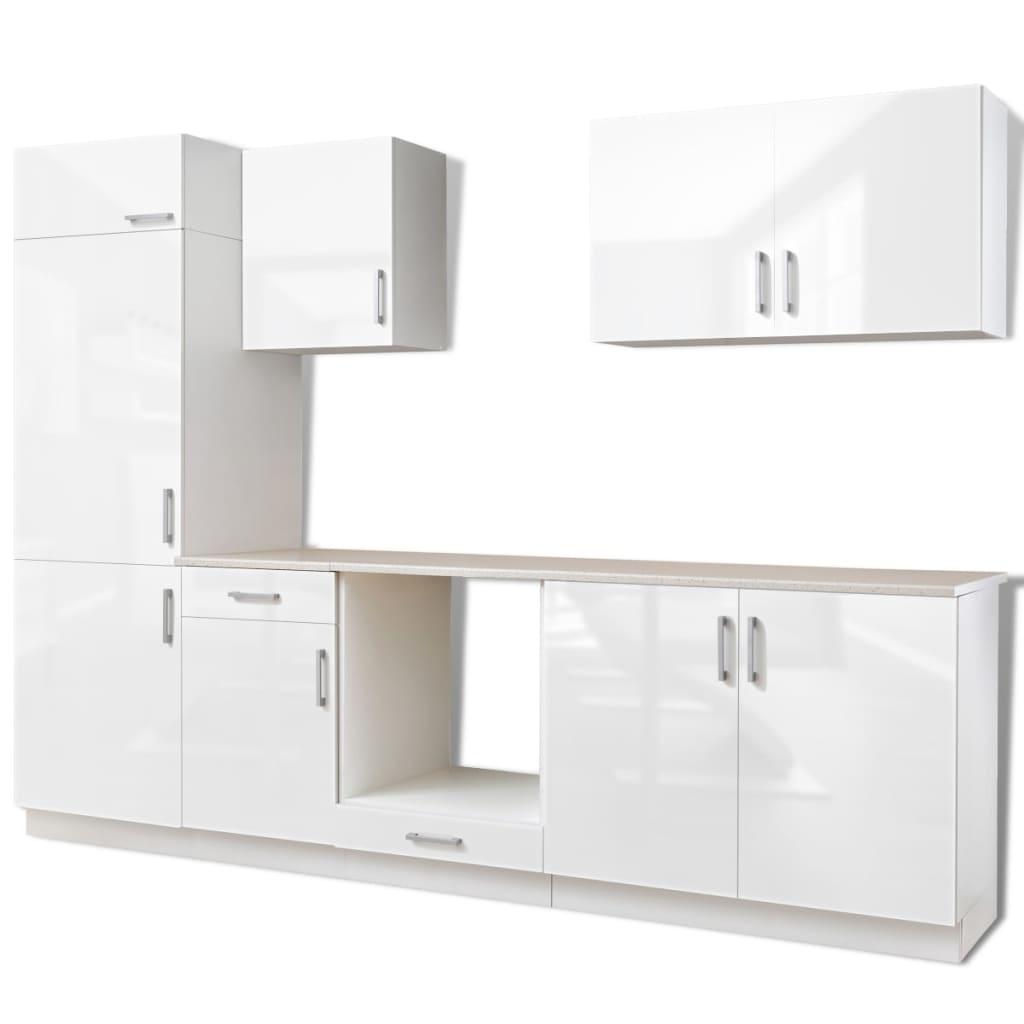 7 delars köksskåp set med köksfläkt högglans vit