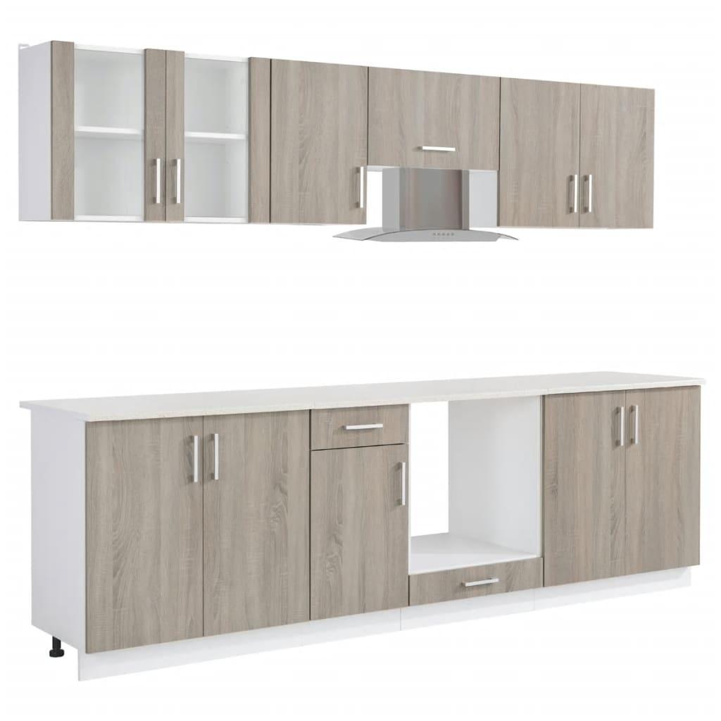 8 delars köksskåp set med köksfläkt ekimitation