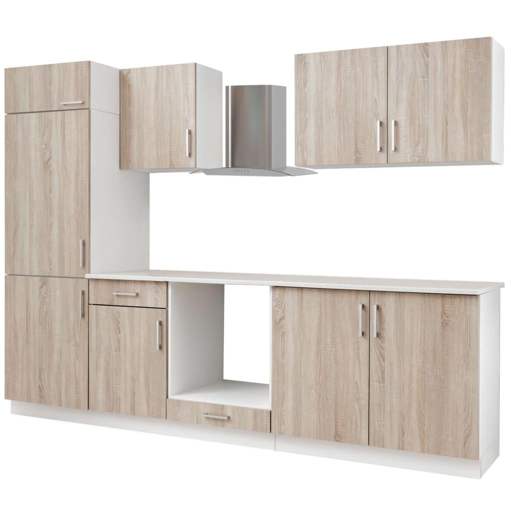 7 delars köksskåp set med köksfläkt ekimitation