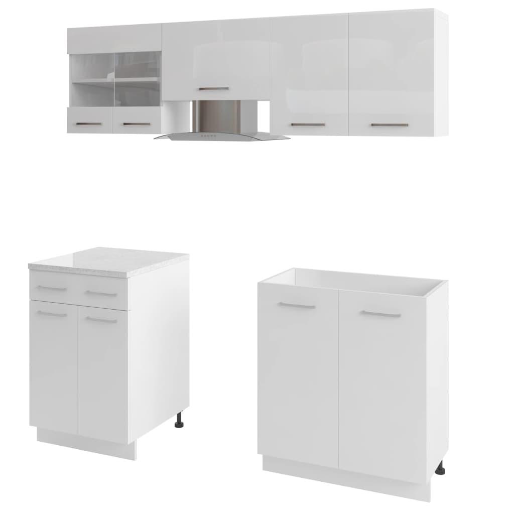 5 delars köksskåp set med köksfläkt högglans vit
