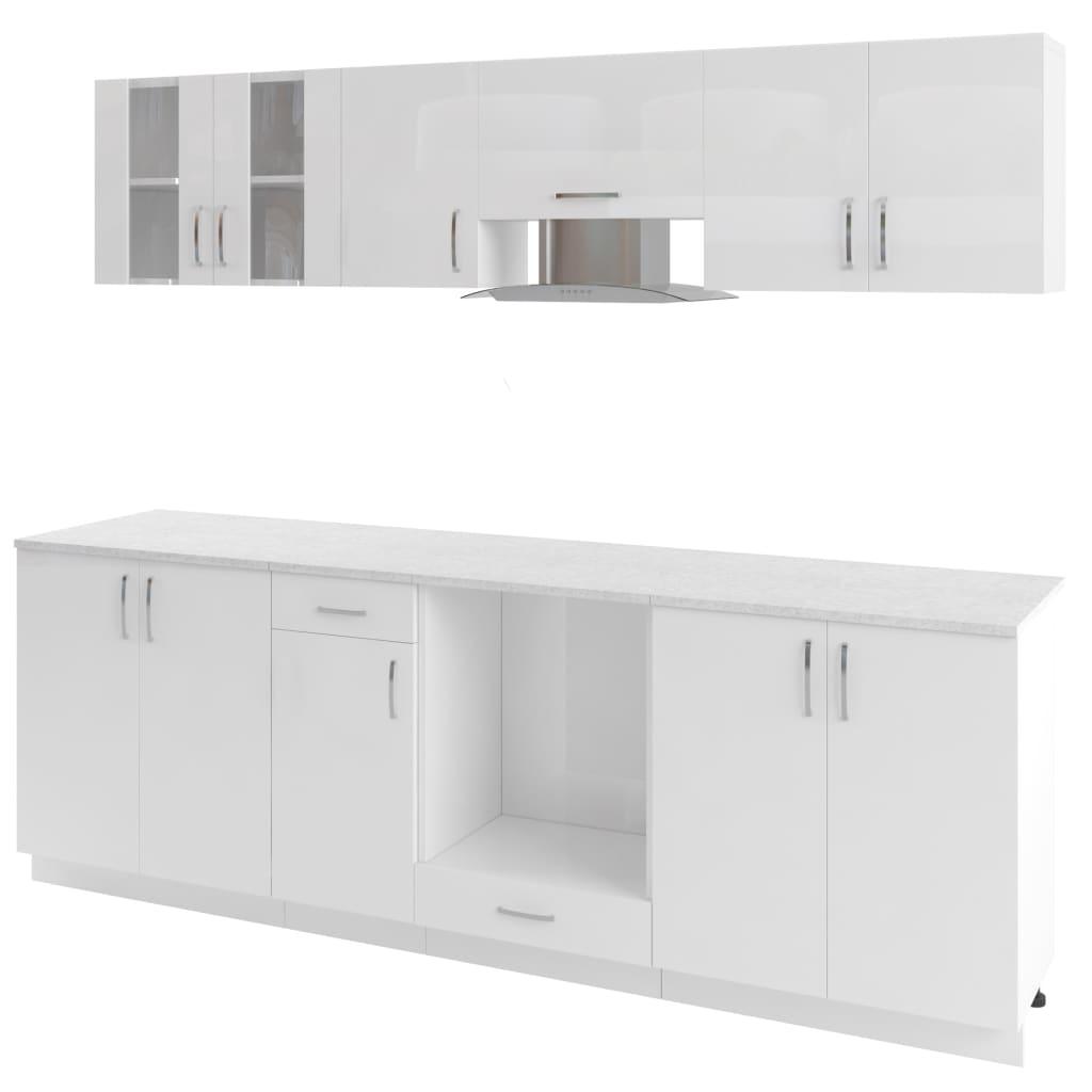 8 delars köksskåp set med köksfläkt högglans vit