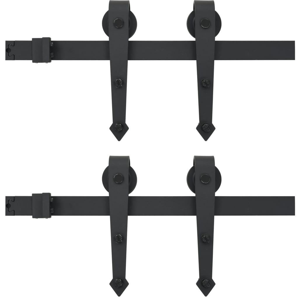 Skjutdörrsbeslag 2x183 cm stål svart