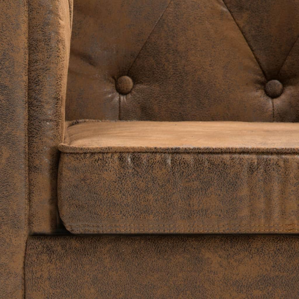 Chesterfieldsoffor 2 st tygklädsel mockaimitation brun
