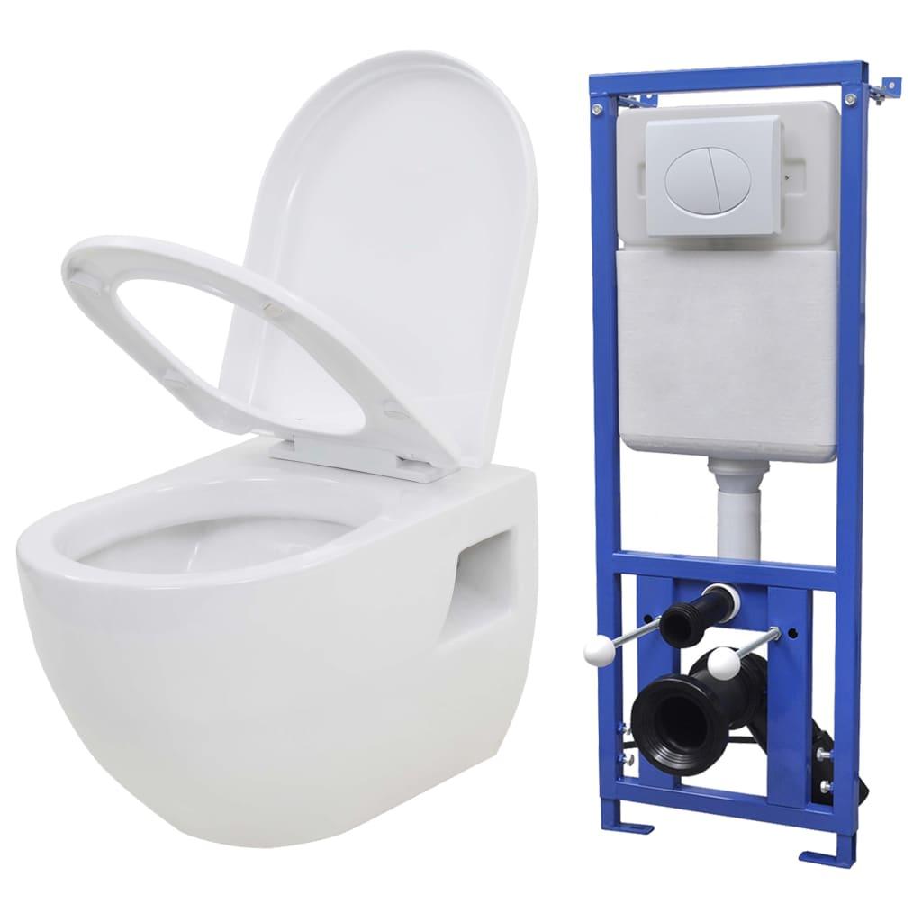 Vägghängd toalett med dold cistern keramik vit