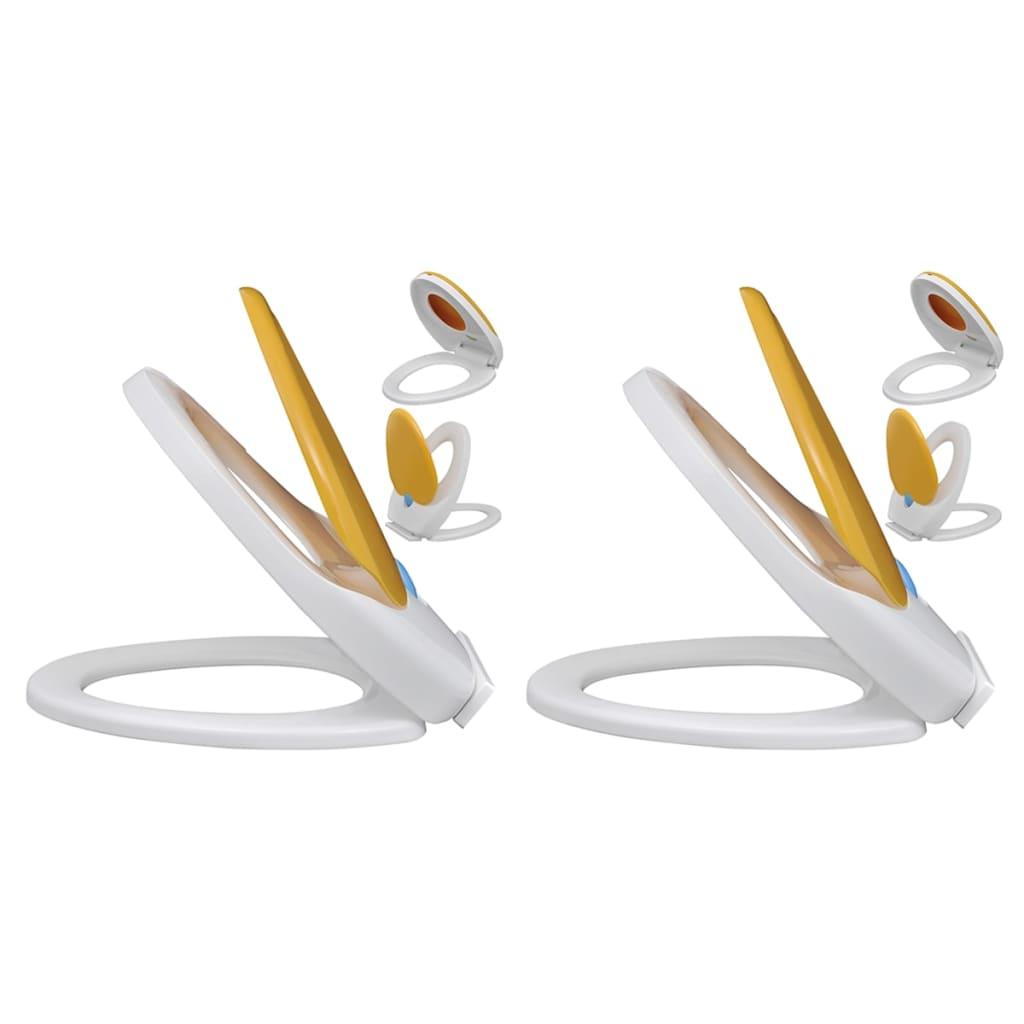 Toalettsitsar med mjuk stängning 2 st plast vit och gul