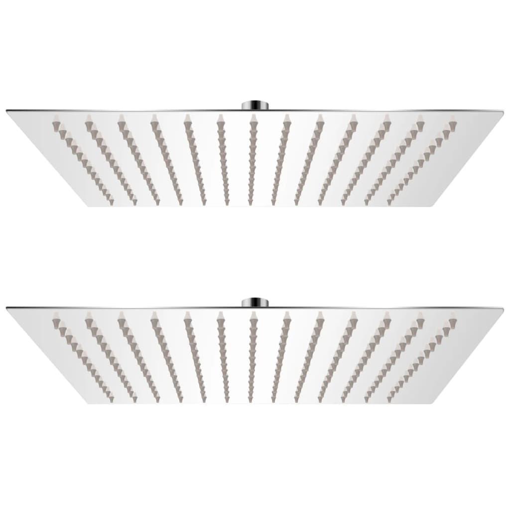 Regnduschhuvud 2 st rostfritt stål 30x30 cm
