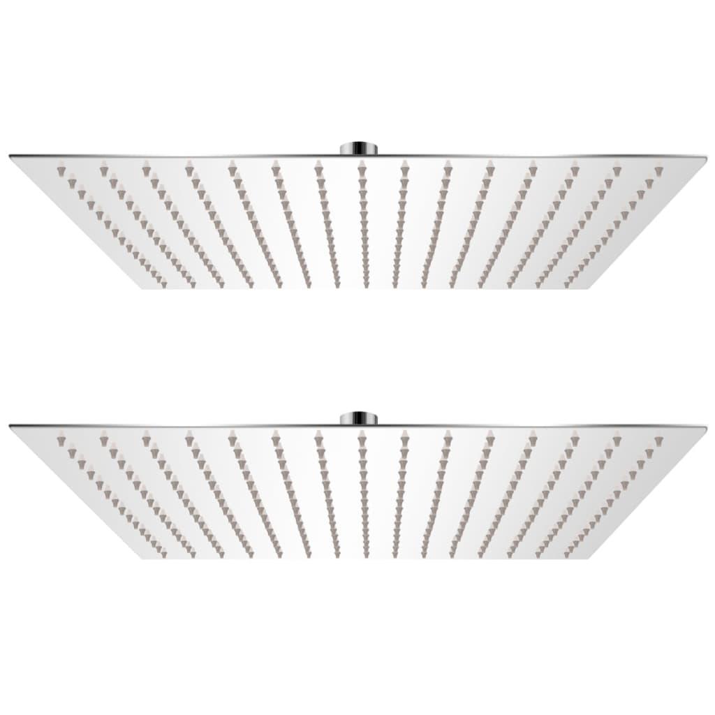 Regnduschhuvud 2 st rostfritt stål 40x40 cm
