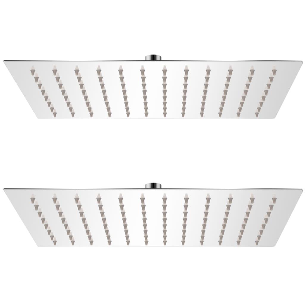 Regnduschhuvud 2 st rostfritt stål 20x30 cm