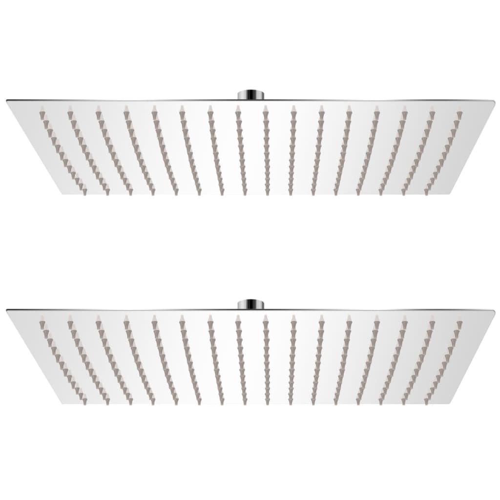 Regnduschhuvud 2 st rostfritt stål 30x40 cm