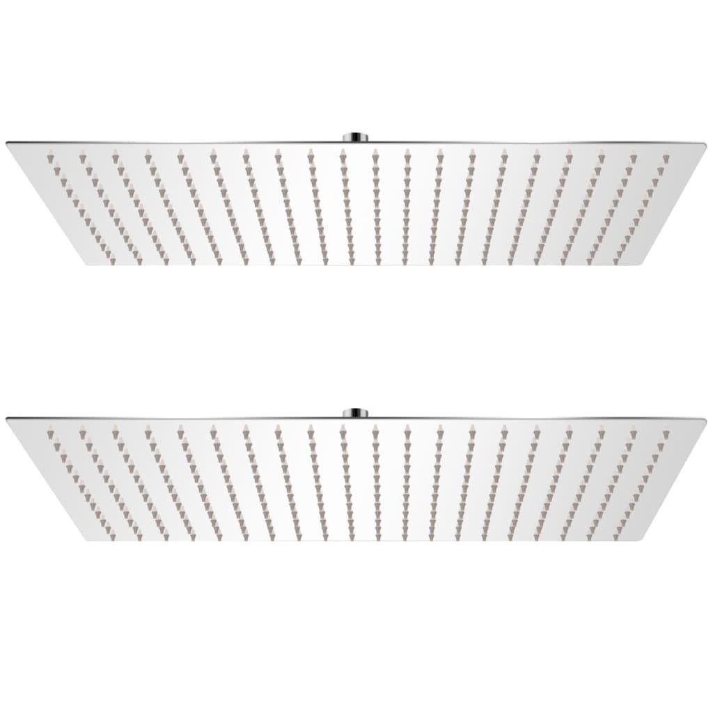 Regnduschhuvud 2 st rostfritt stål 30x50 cm