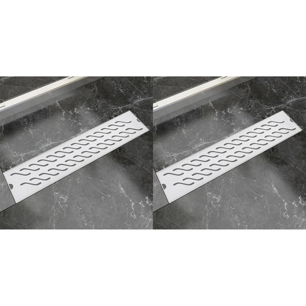 Avlång golvbrunn 2 st vågig rostfritt stål 530x140 mm