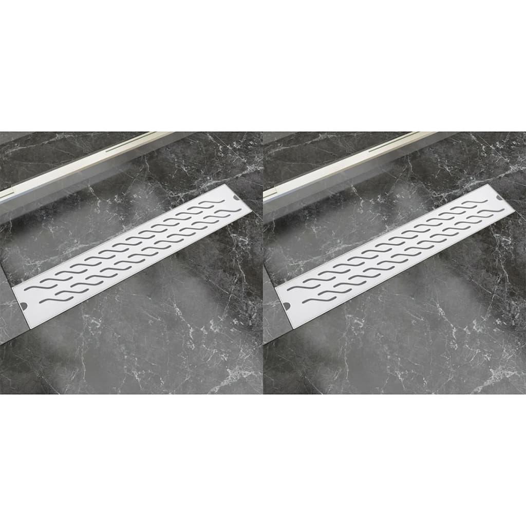 Avlång golvbrunn 2 st vågig rostfritt stål 630x140 mm