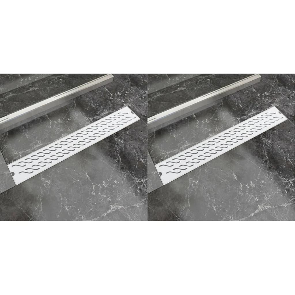 Avlång golvbrunn 2 st vågig rostfritt stål 730x140 mm