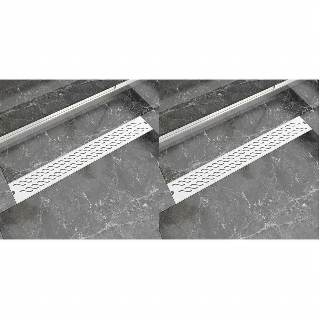 Avlång golvbrunn 2 st vågig rostfritt stål 830x140 mm