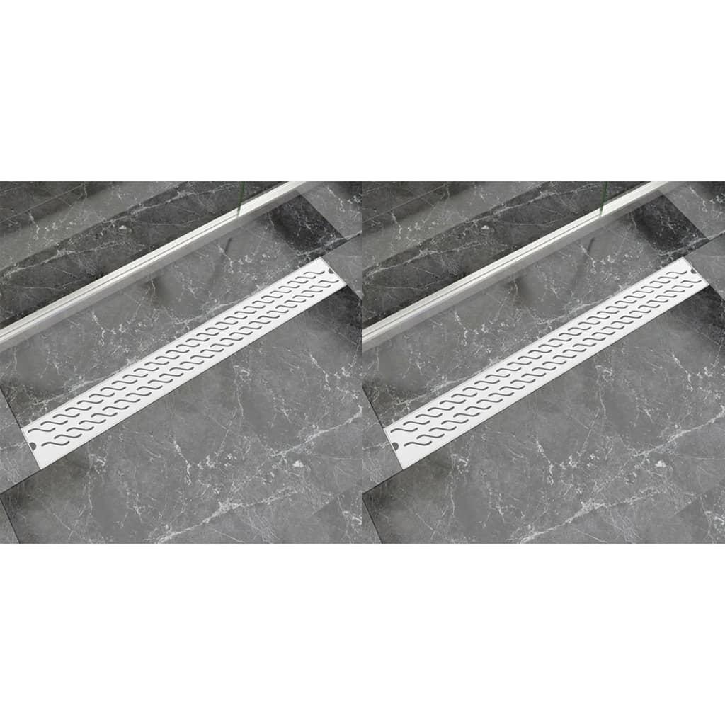 Avlång golvbrunn 2 st vågig rostfritt stål 930x140 mm
