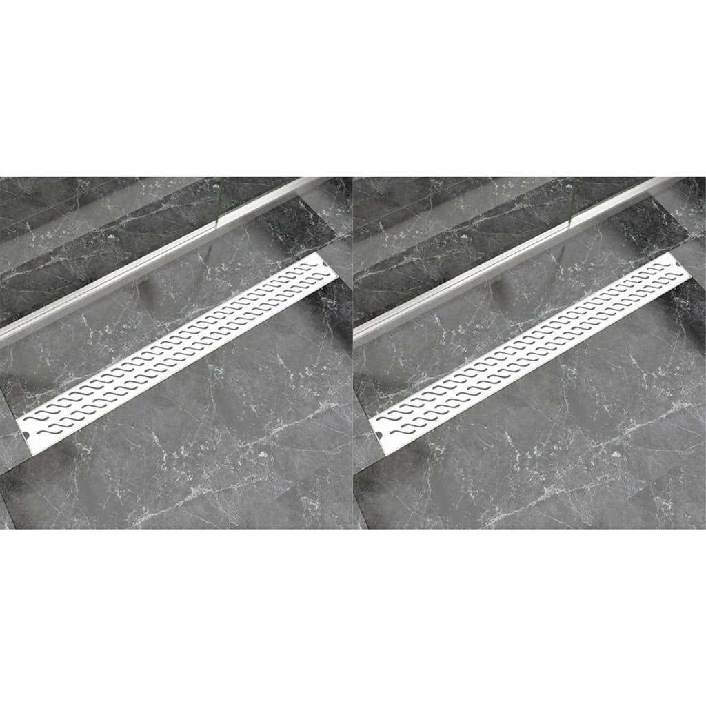 Avlång golvbrunn 2 st vågig rostfritt stål 1030x140 mm