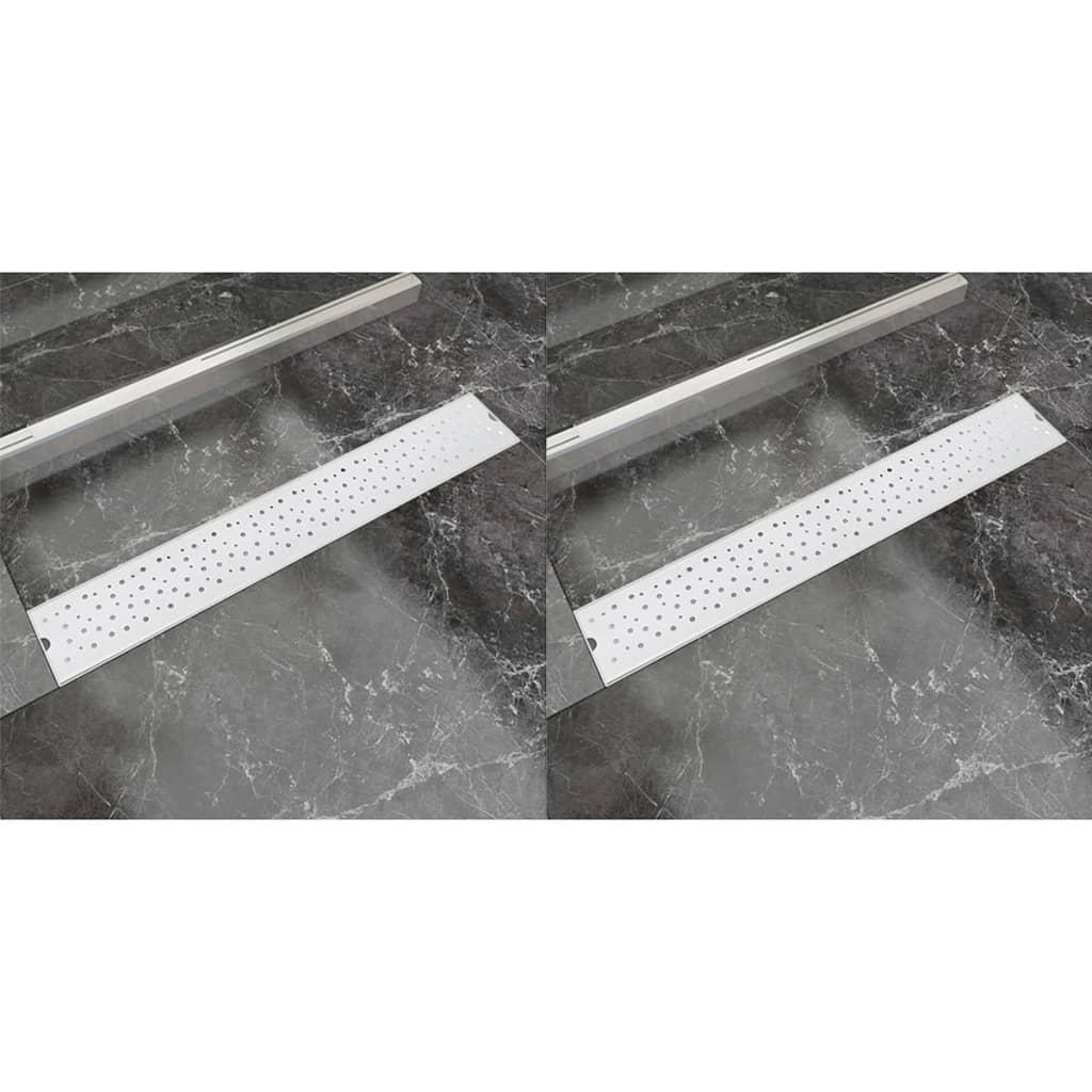 Avlång golvbrunn 2 st bubblor rostfritt stål 730x140 mm