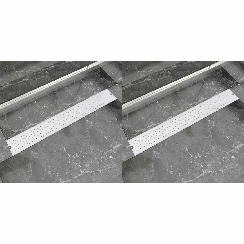 Avlång golvbrunn 2 st bubblor rostfritt stål 830x140 mm