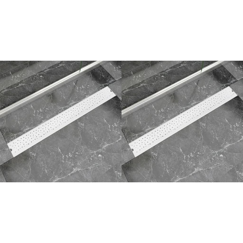 Avlång golvbrunn 2 st bubblor rostfritt stål 930x140 mm