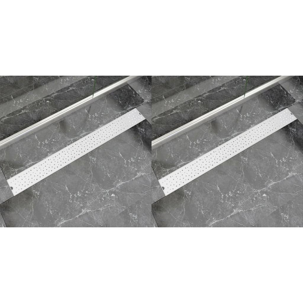 Avlång golvbrunn 2 st bubblor rostfritt stål 1030x140 mm