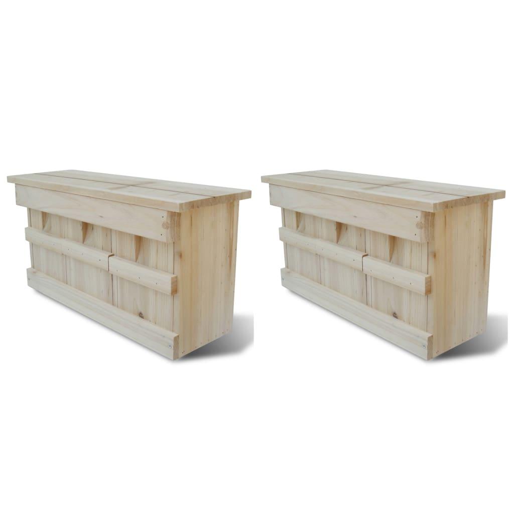 Fågelholkar 2 st trä 44x15,5x21,5 cm