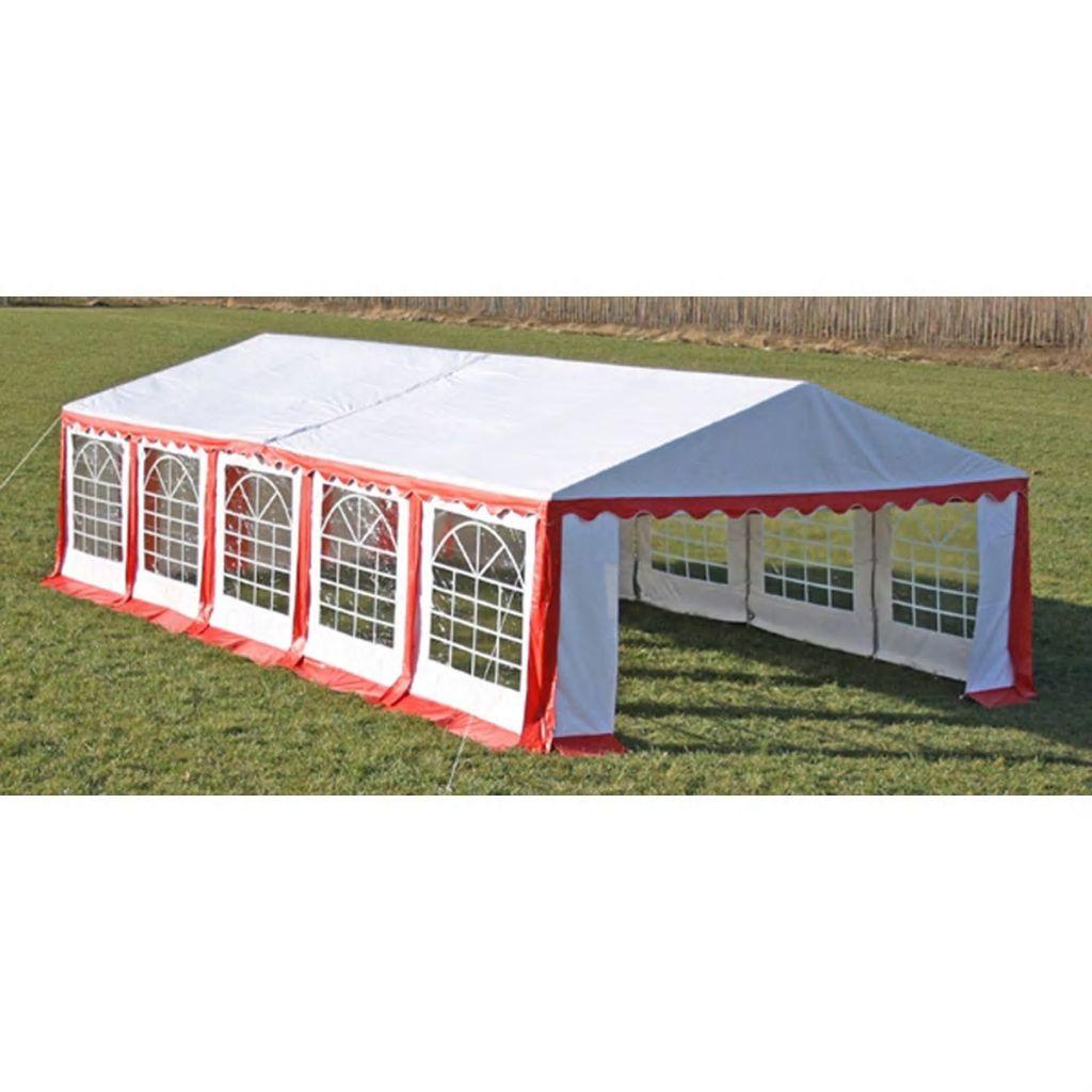 Partytält tak + sidpaneler 10x5m röd vit