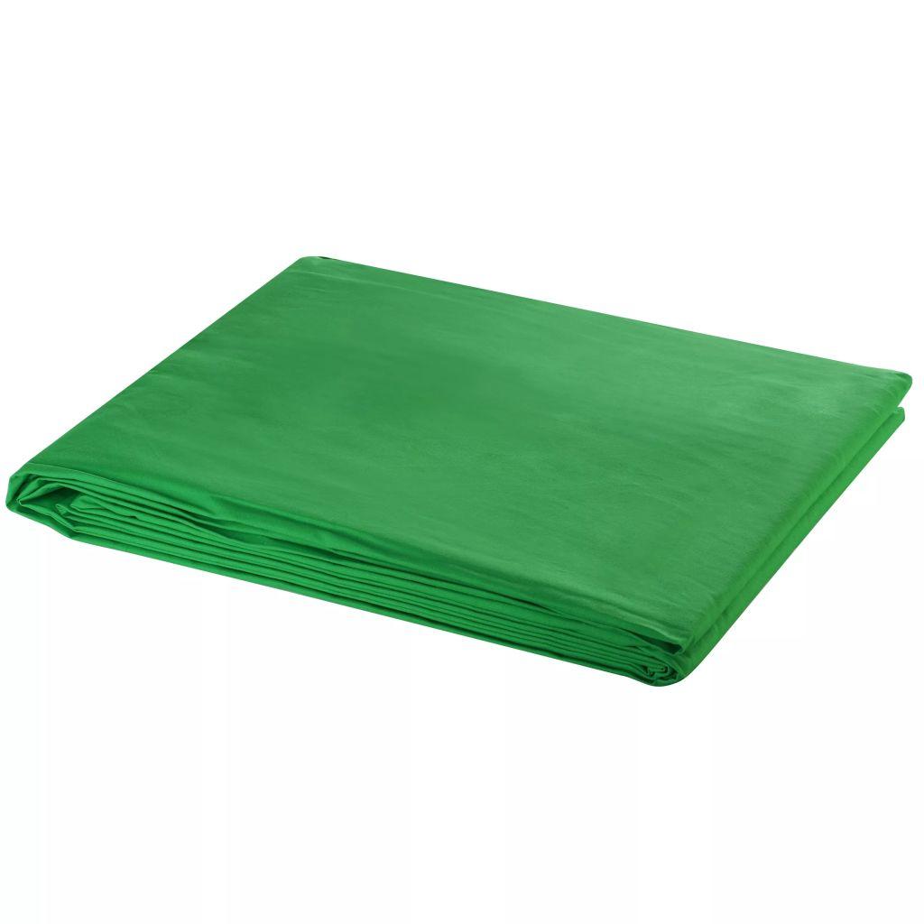 vidaXL Fotobakgrund bomull grön 300x300 cm chroma key