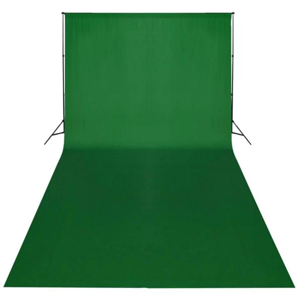 vidaXL Fotobakgrund bomull grön 600x300 cm chroma key