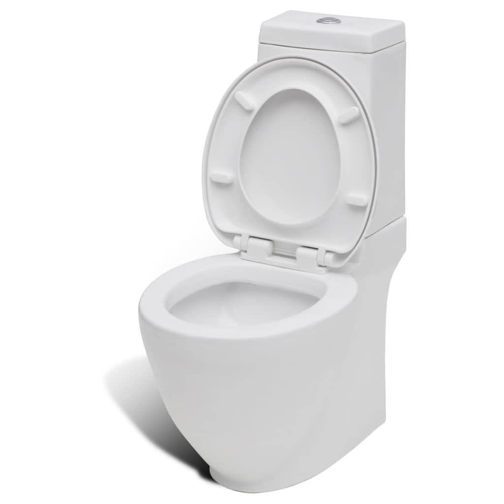 vidaXL Toalettstol keramik vattenflöde bakom vit