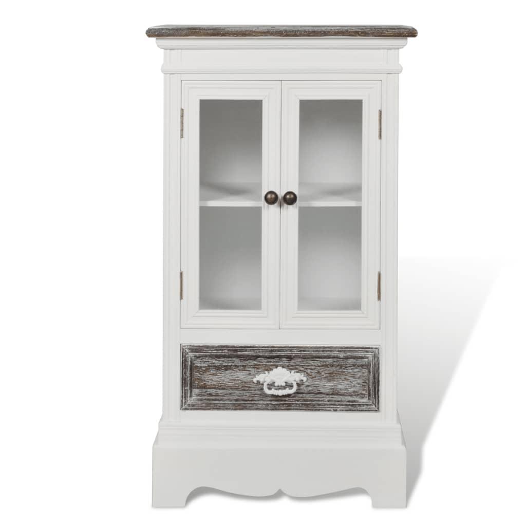 vidaXL Skåp med 2 dörrar och 1 låda trä vit