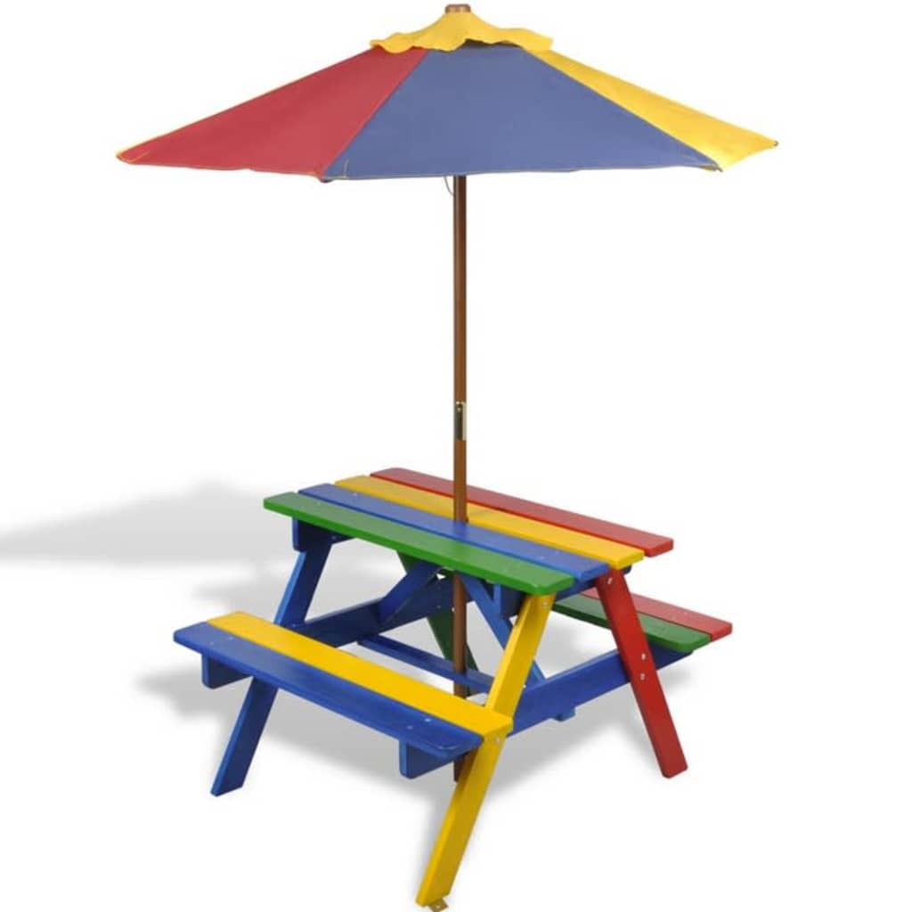 Picknickbord med bänkar och parasoll för barn flerfärgad trä