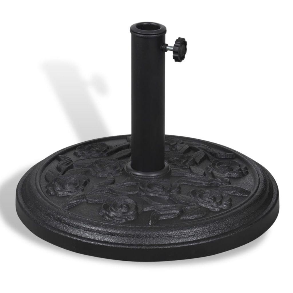 Parasollfot rund svart