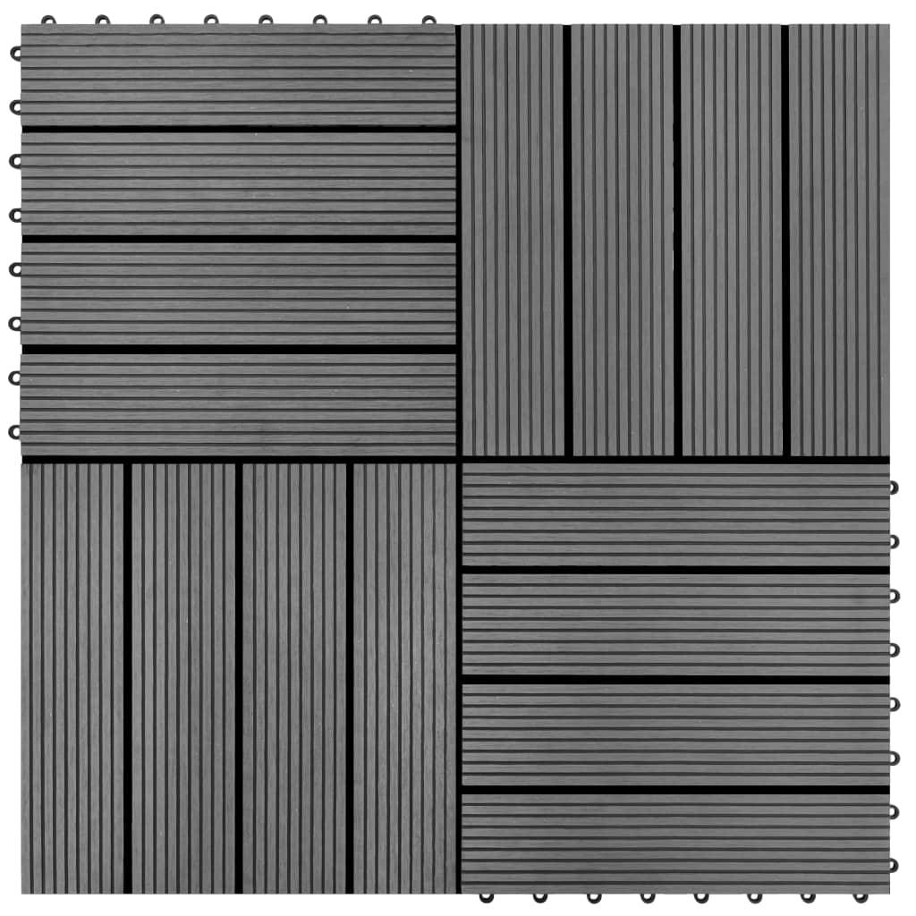 Markplattor 11 st WPC 1m2 30x30 cm grå