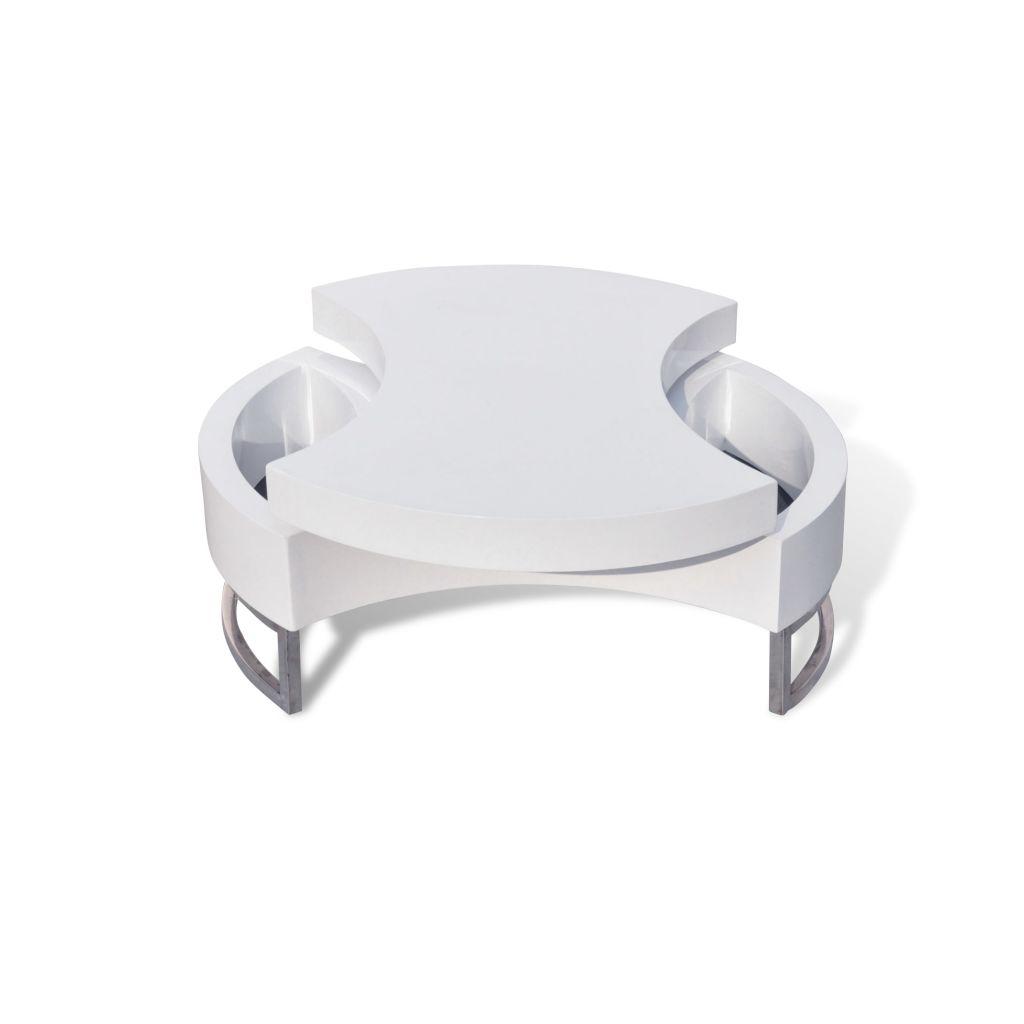 vidaXL Soffbord justerbar form högglans vit