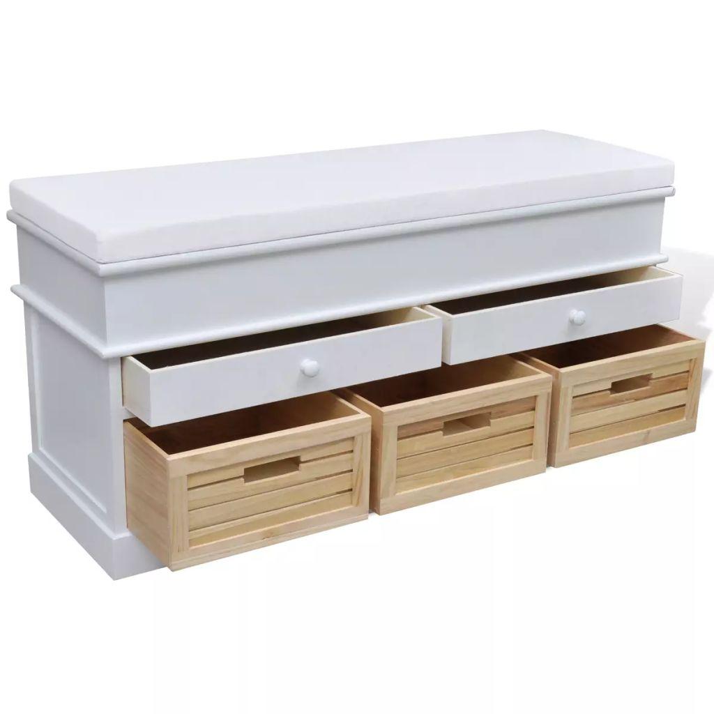 vidaXL Förvaringsbänk med dyna 2 lådor 3 korgar vit