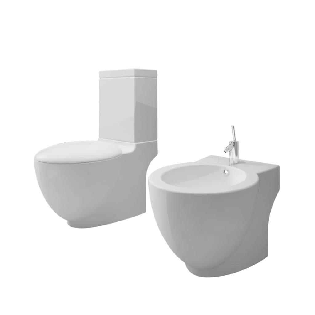 Toalettstol och bidé vit keramik inkl. cistern