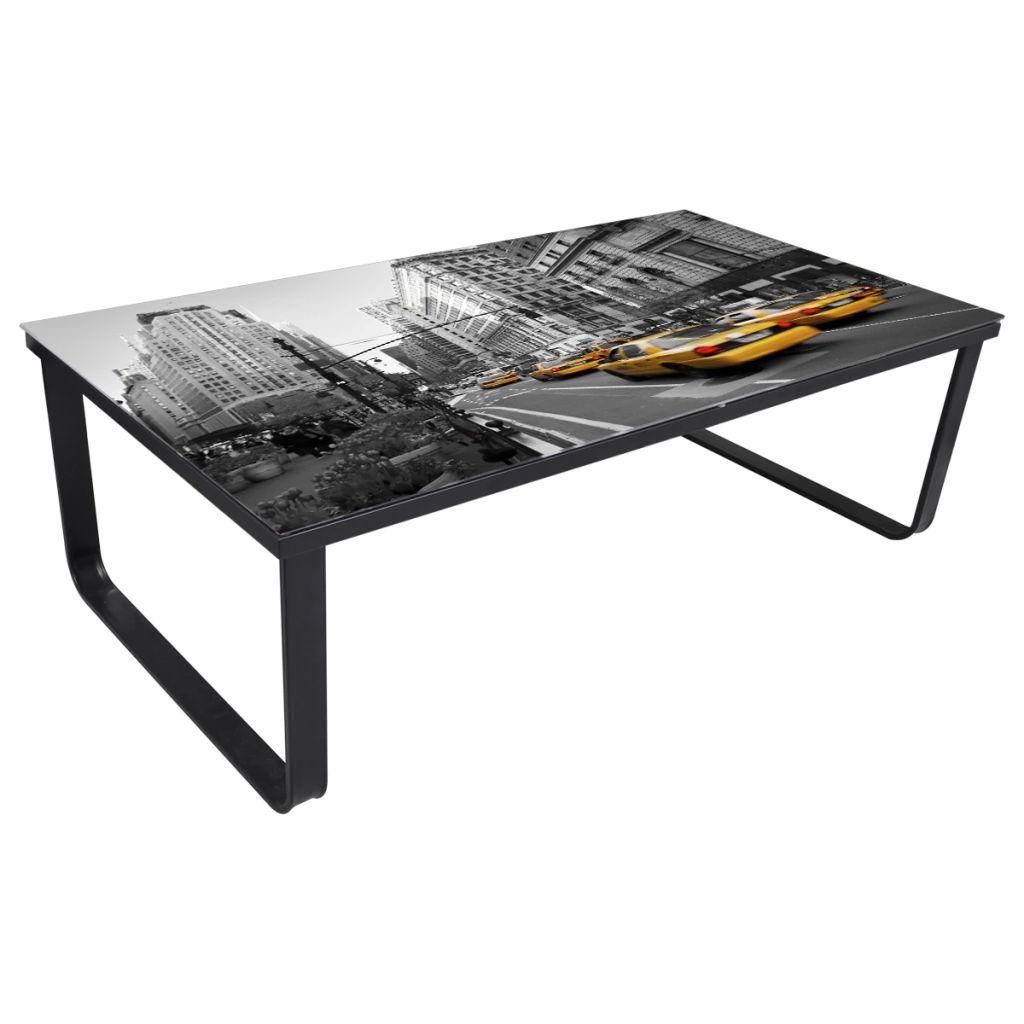 vidaXL Soffbord med bordsskiva i glas rektangulär