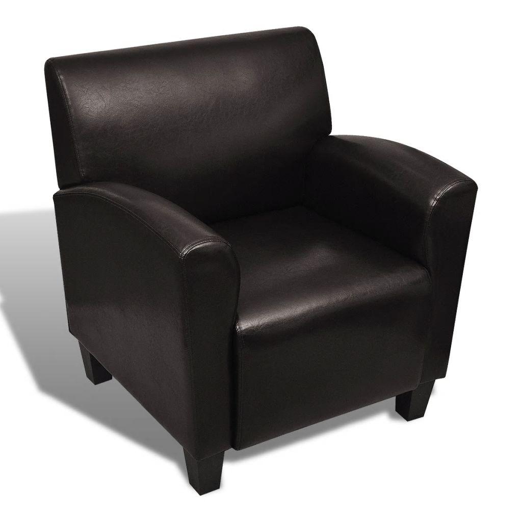 vidaXL Fåtölj mörkbrun konstläder