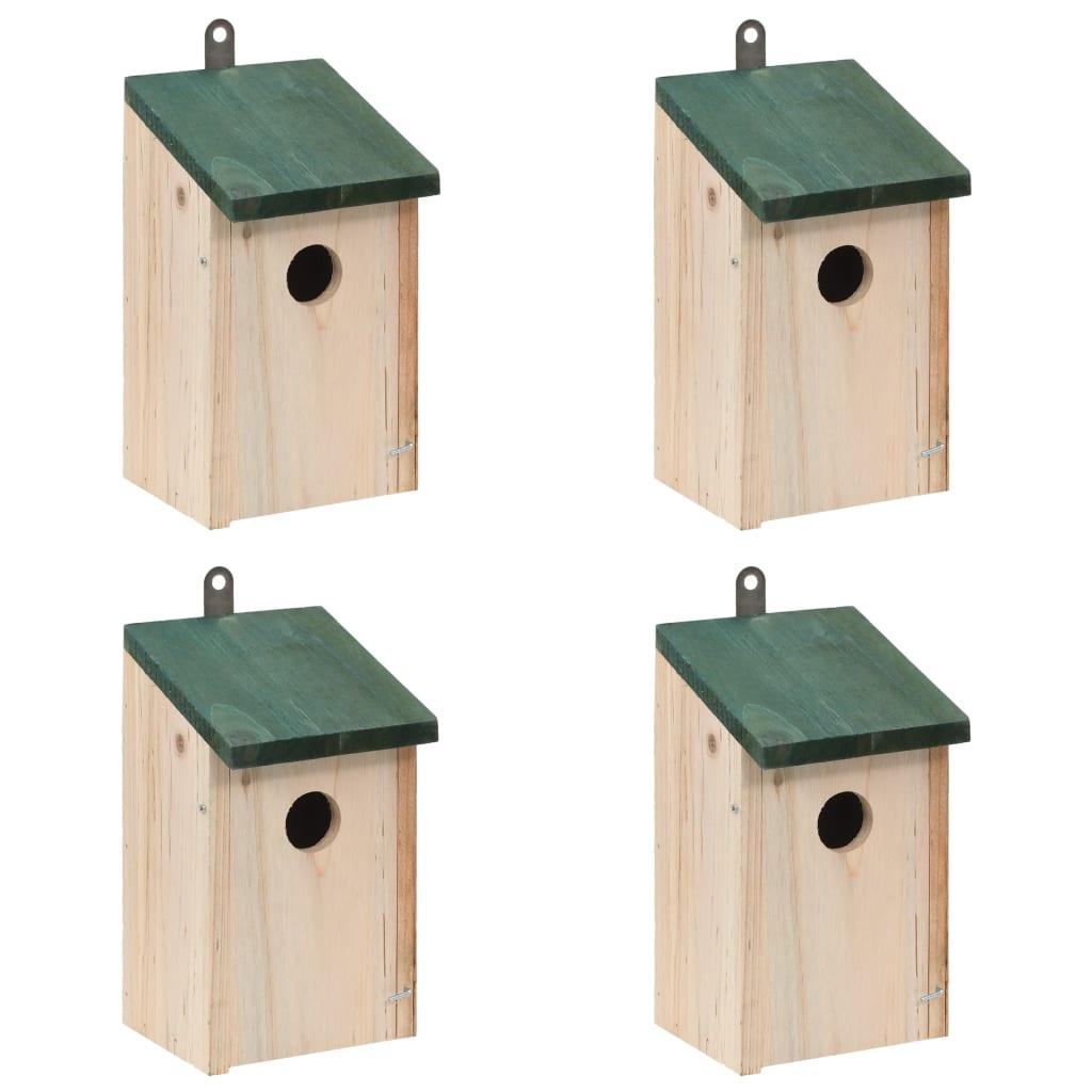 Fågelholkar 4 st trä 12x12x22 cm