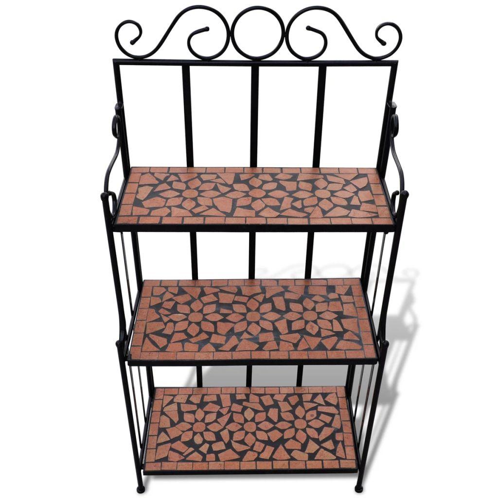 Blomsterstativ terrakotta brun, svart