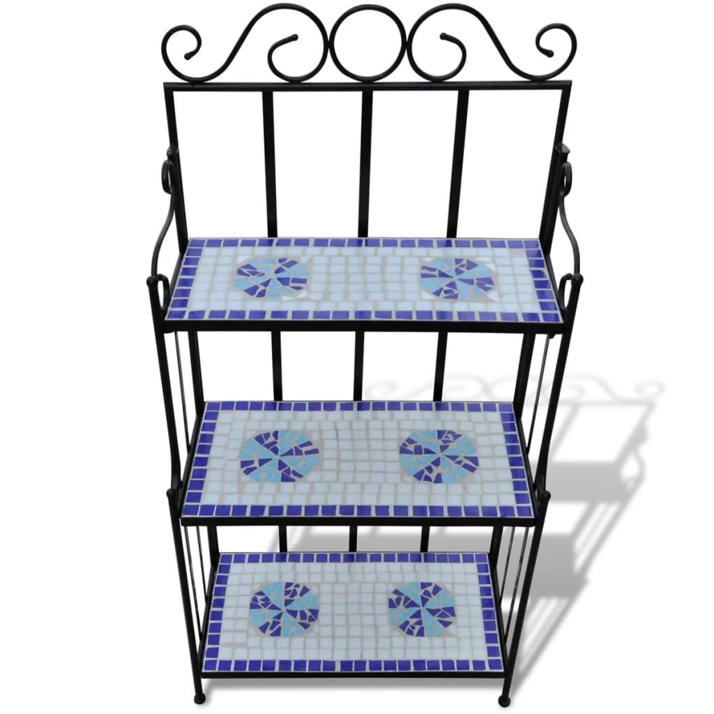 Blomsterstativ terrakotta blå, vit