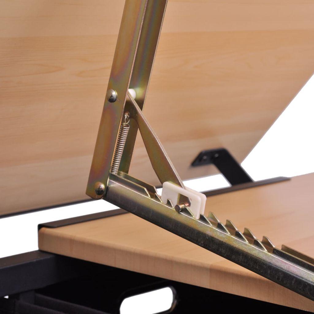 vidaXL Vinklingsbart ritbord med 2 lådor och 1 pall
